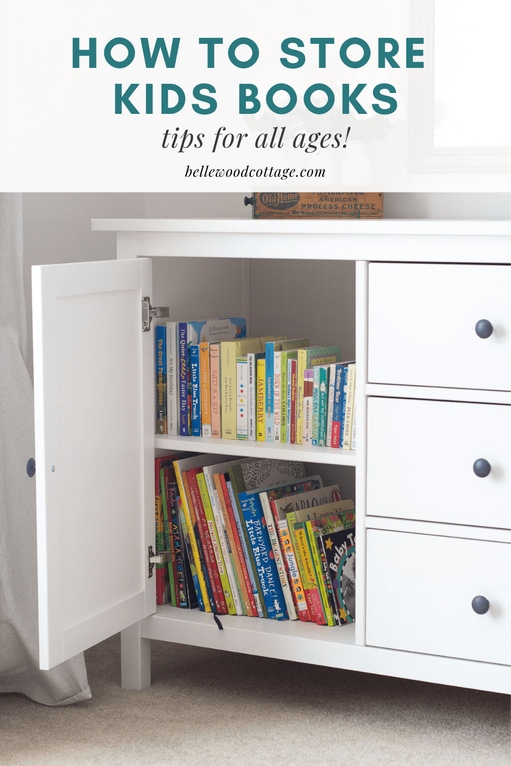 """An open cupboard filled with books with the words, """"How to Store Kids' Books: Tips for All Ages!"""""""