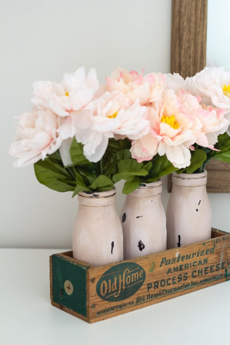 Vintage Milk Bottle Décor Idea for Spring