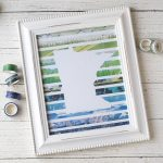 Home state washi tape wall art in a white frame.
