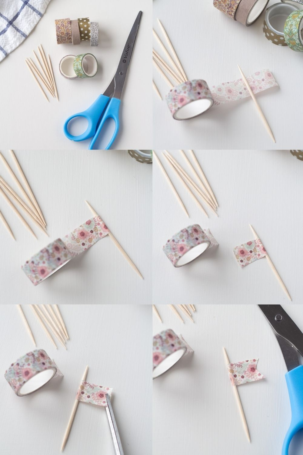 Step by step images of how to make washi tape flags.