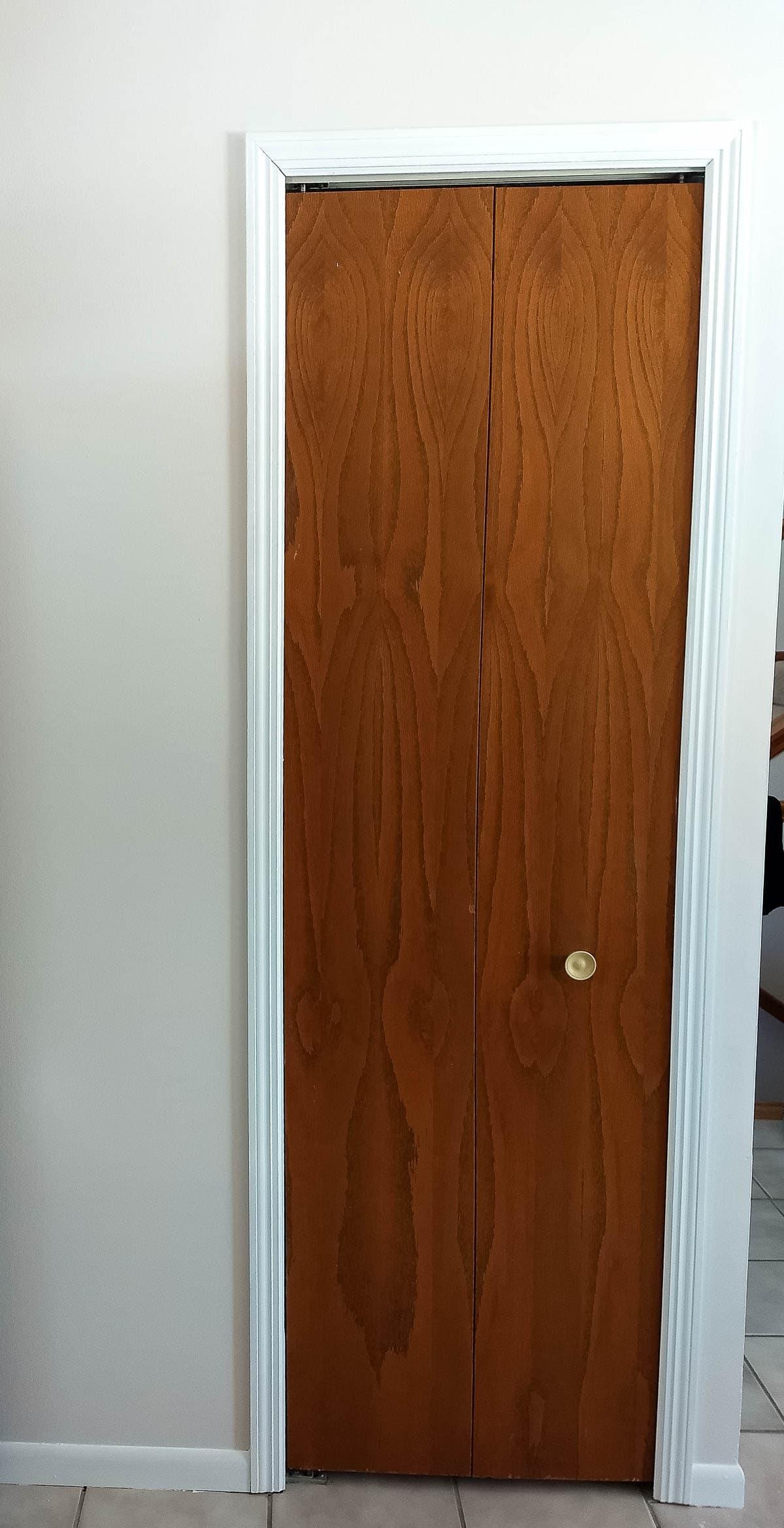 An old pantry door before updating.