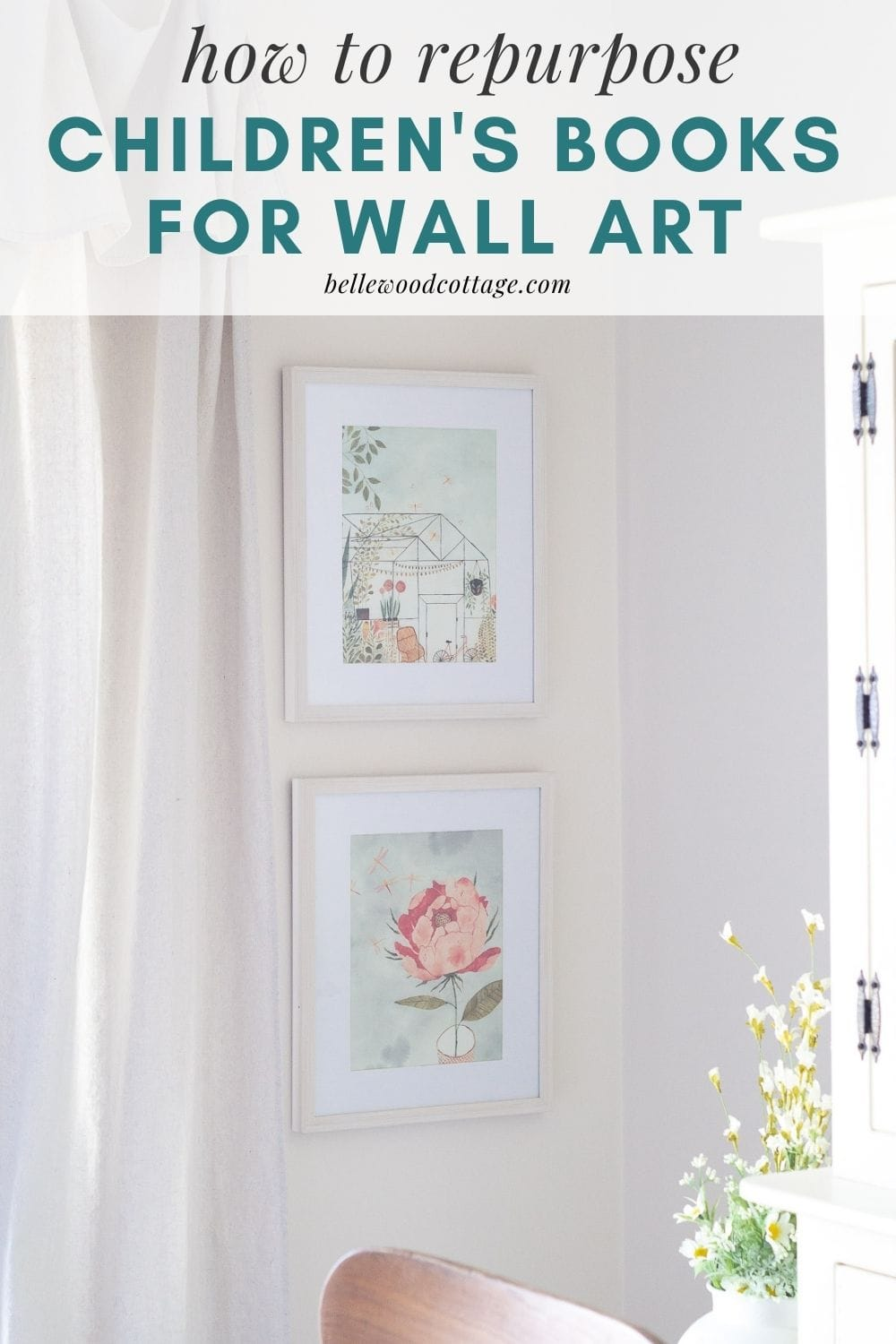 """Two framed pictures on a white wall with the words, """"how to repurpose children's book for wall art."""""""