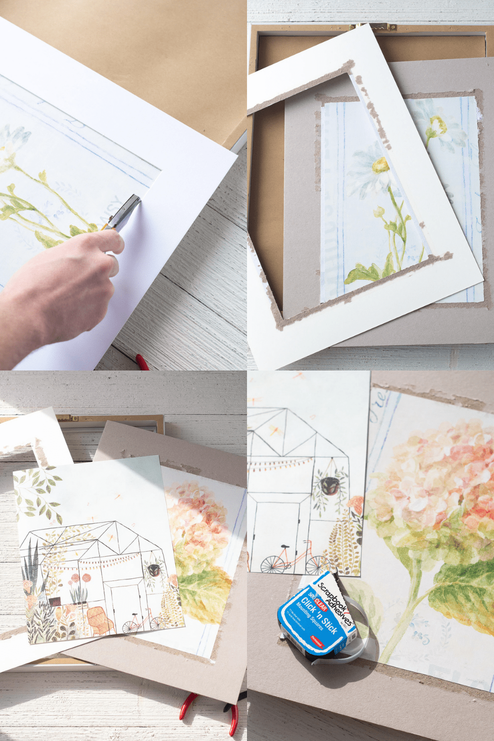 Four images in a collage showing the step by step process of replacing the art in an old framed art piece.