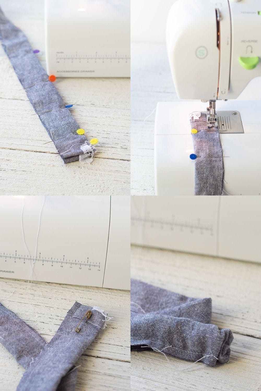 Step-by-step photos of how to sew a scrunchie and turn it right side out.