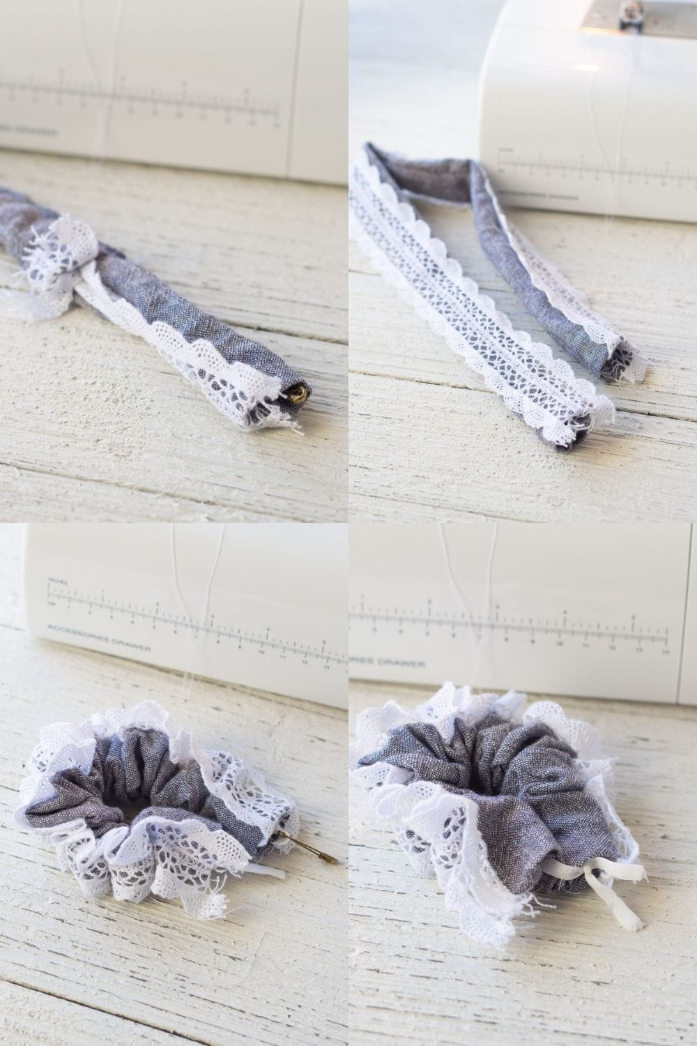 Step-by-step photos of how to sew a scrunchie with lace trim.