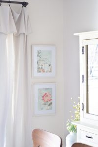 Art by Cécile Metzger from a children's book and repurposed in two white frames.