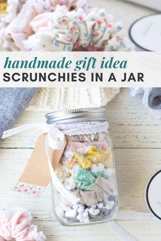 A handmade gift idea--colorful scrunchies layered in a glass mason jar.