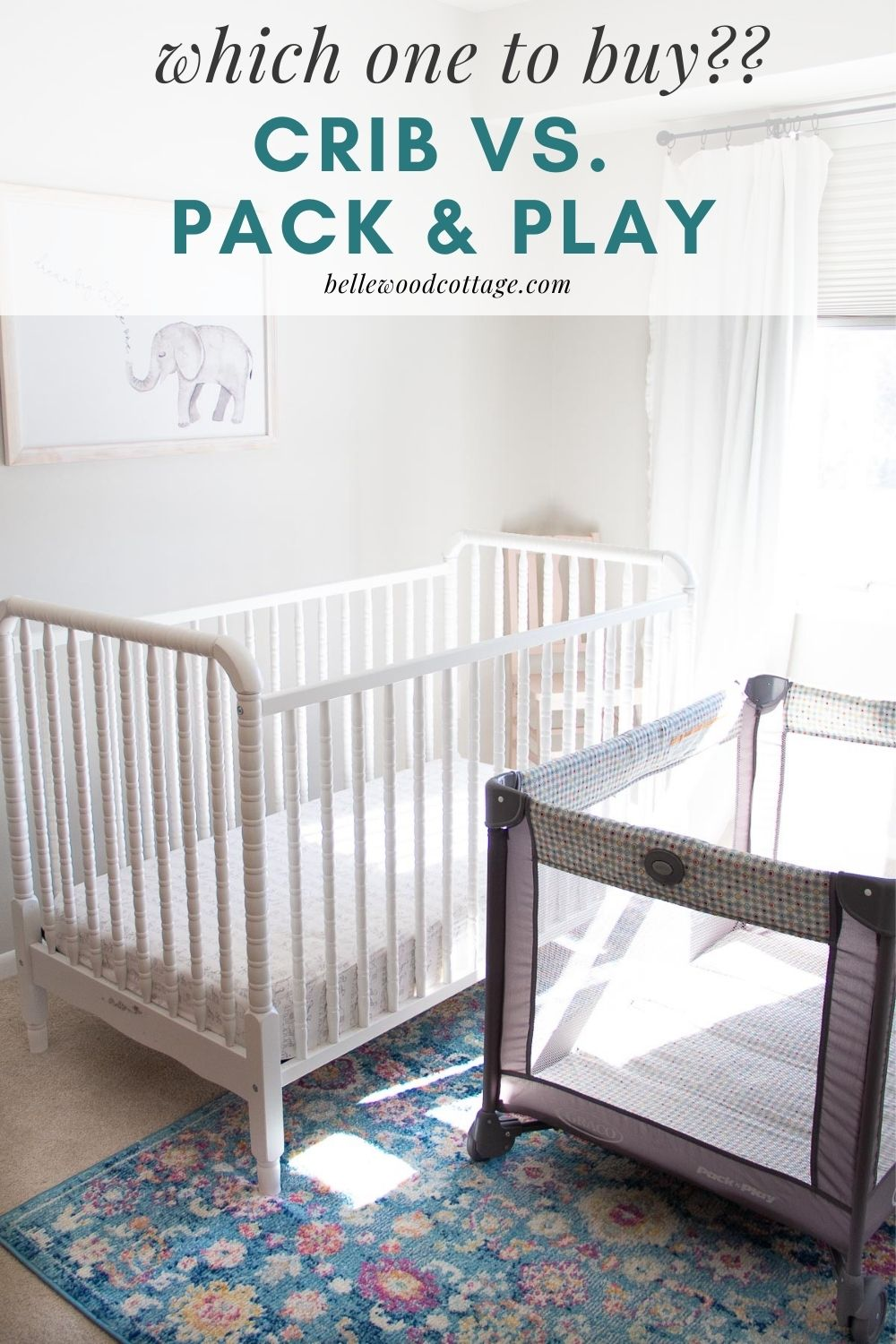 """A white crib and a gray pack and play in a nursery with the words, """"Which One to Buy?? Crib versus Pack and Play."""""""