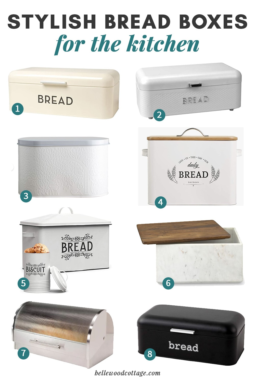 A collage of farmhouse bread boxes with numbers for easy reference.