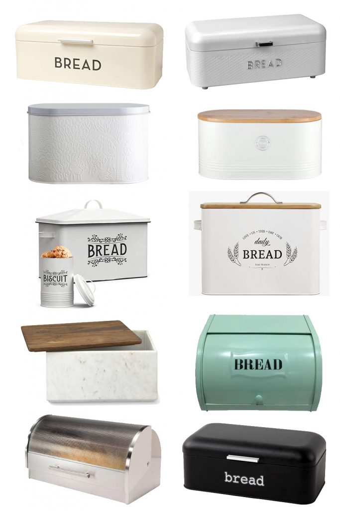 A collage of colorful bread boxes.
