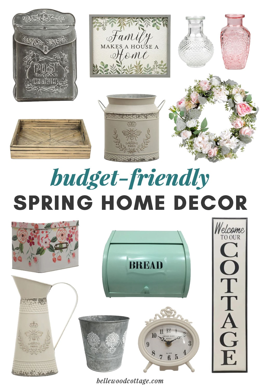 Collage of budget-friendly spring home décor from Michaels.