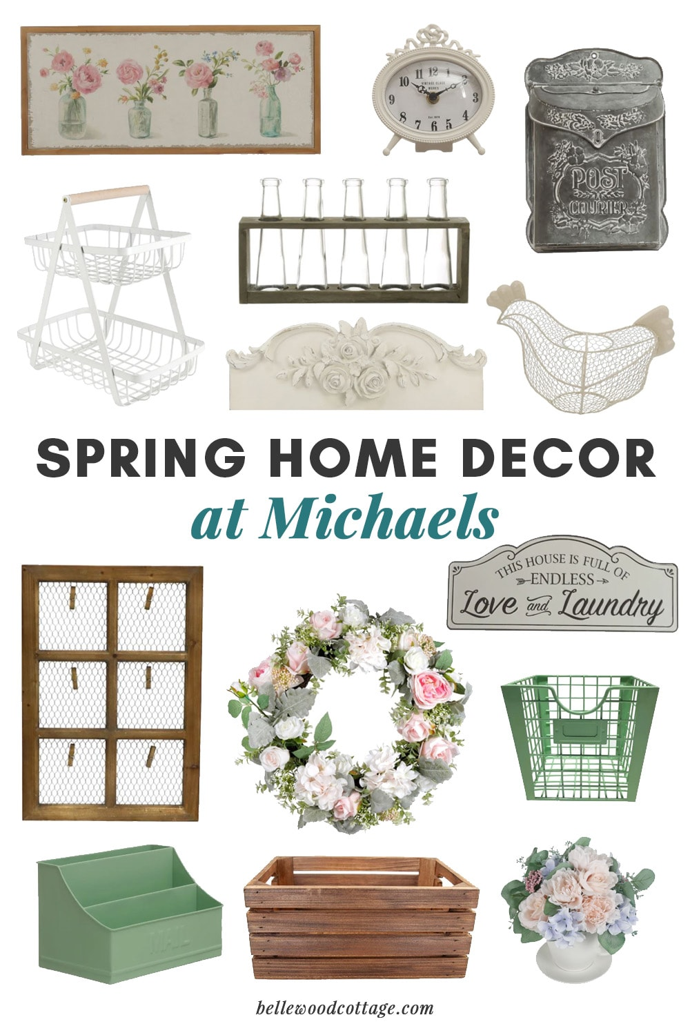 A collage of spring decor from Michaels.