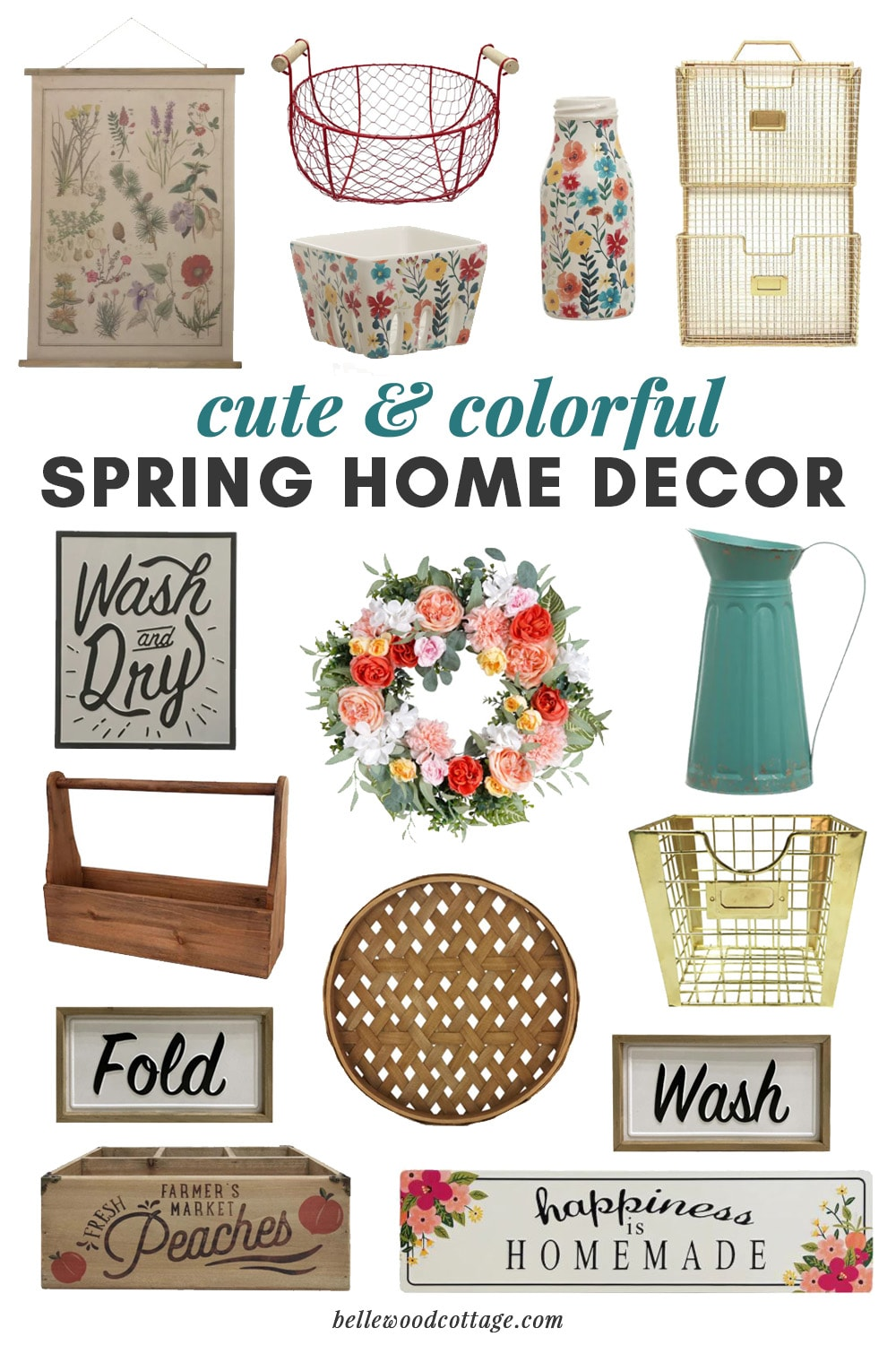 A collage of colorful spring home décor from Michaels.