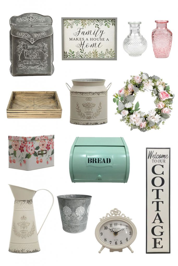 A collage of spring home decor.