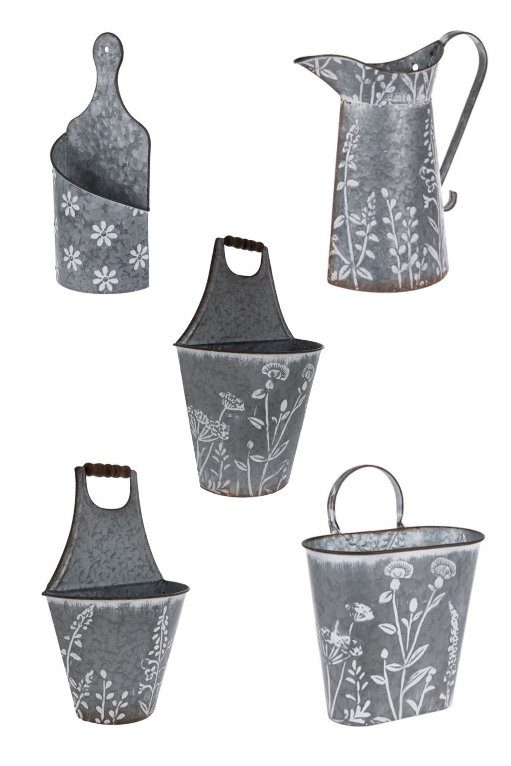 A collage of floral painted containers from Hobby Lobby.