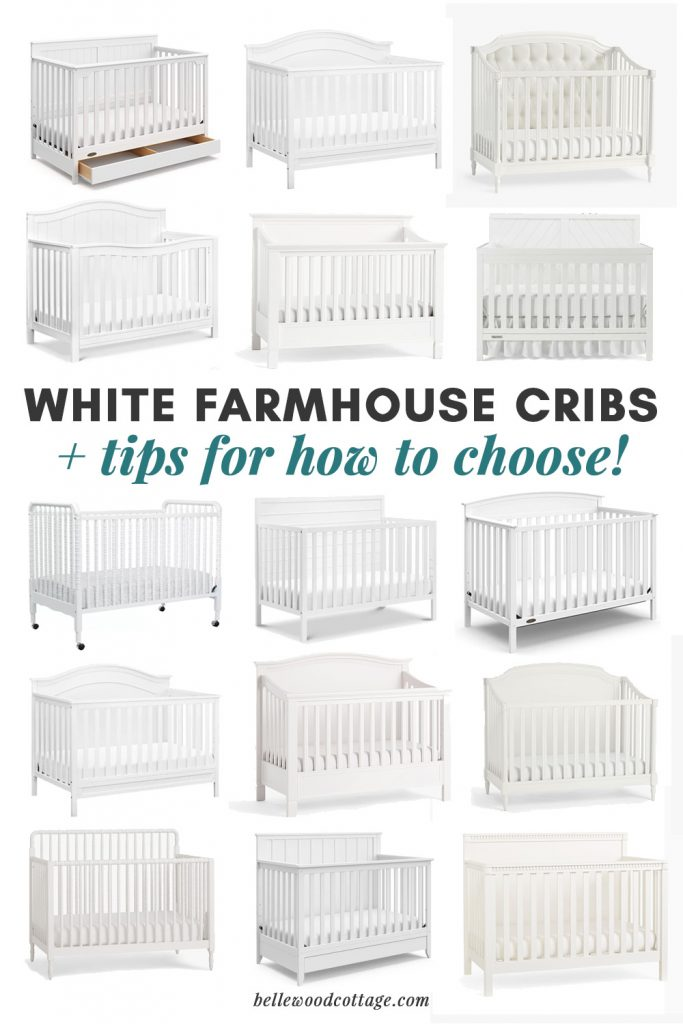 A collage of white farmhouse cribs.