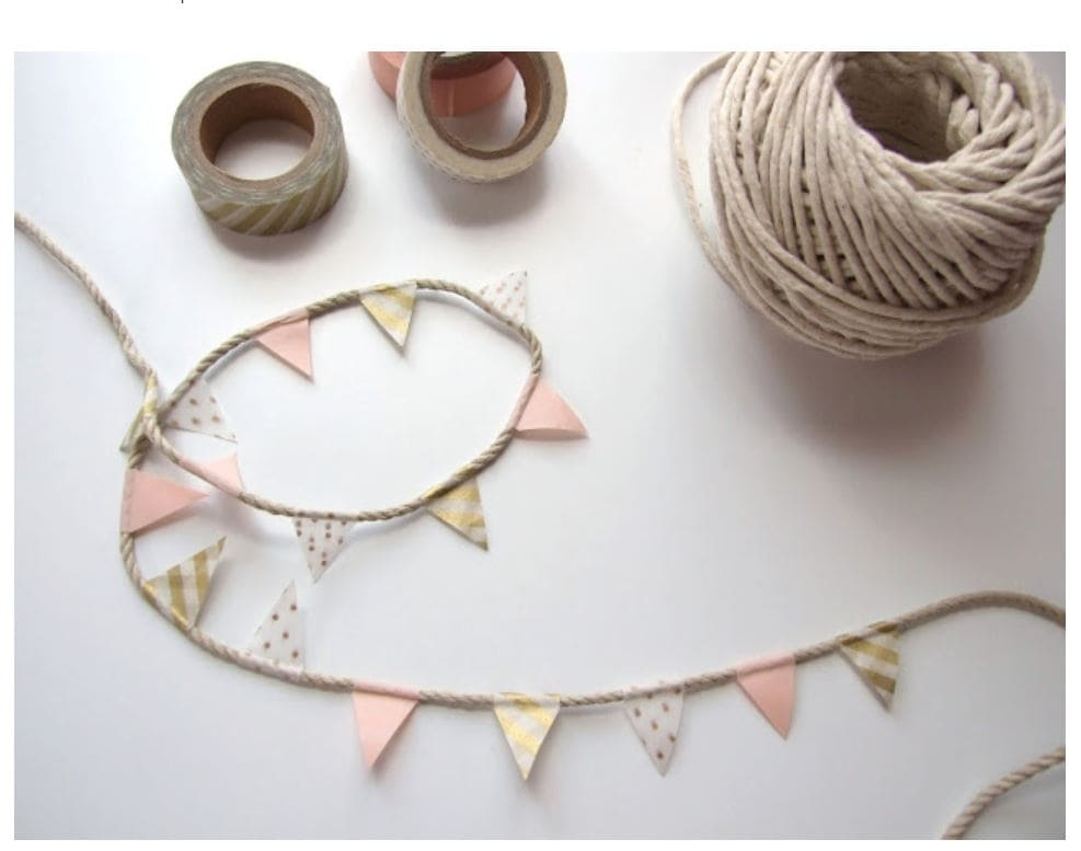 A miniature bunting made with twine and washi tape.