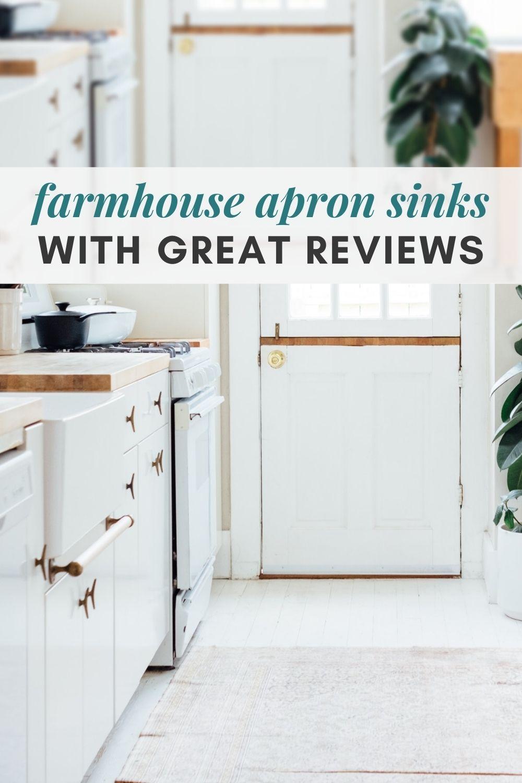 A farmhouse apron sink in a white kitchen.