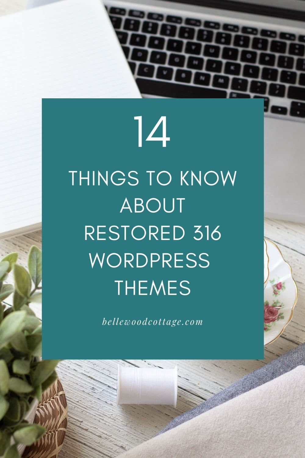 """An open laptop with the words, """"14 Things to Know About Restored 316 WordPress Themes"""""""