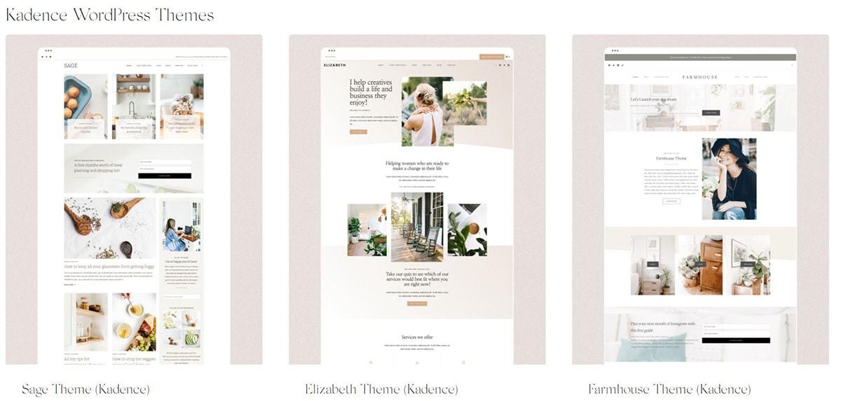 Three Kadence Child Theme Screenshots.