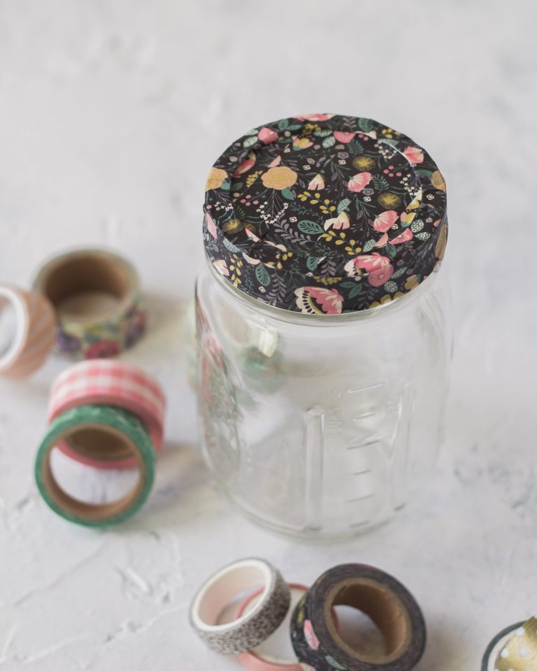 How to Cover Mason Jar Lids with Washi Tape