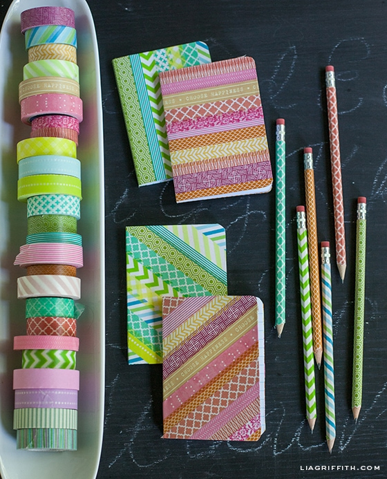 Washi tape, and washi tape covered notebooks and pencils.