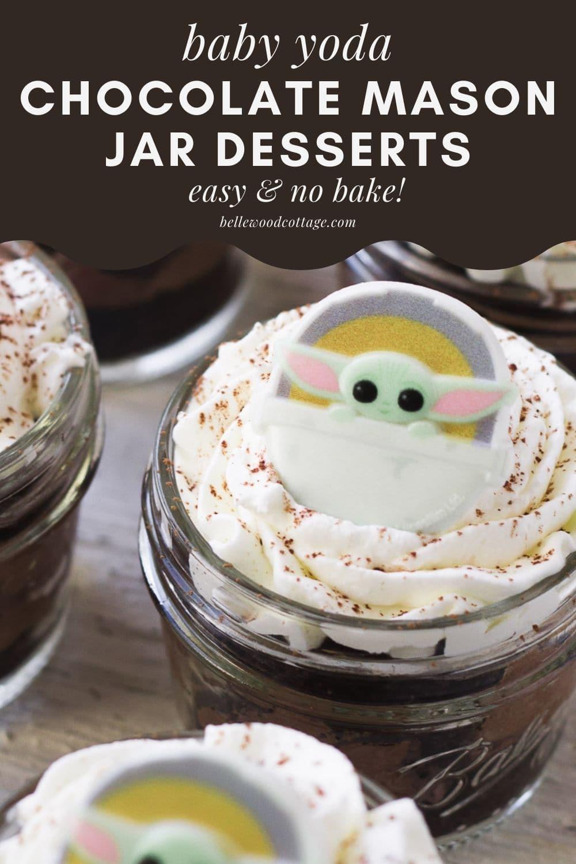 "A ""French Silk Pie"" no bake dessert layered in a small mason jar."