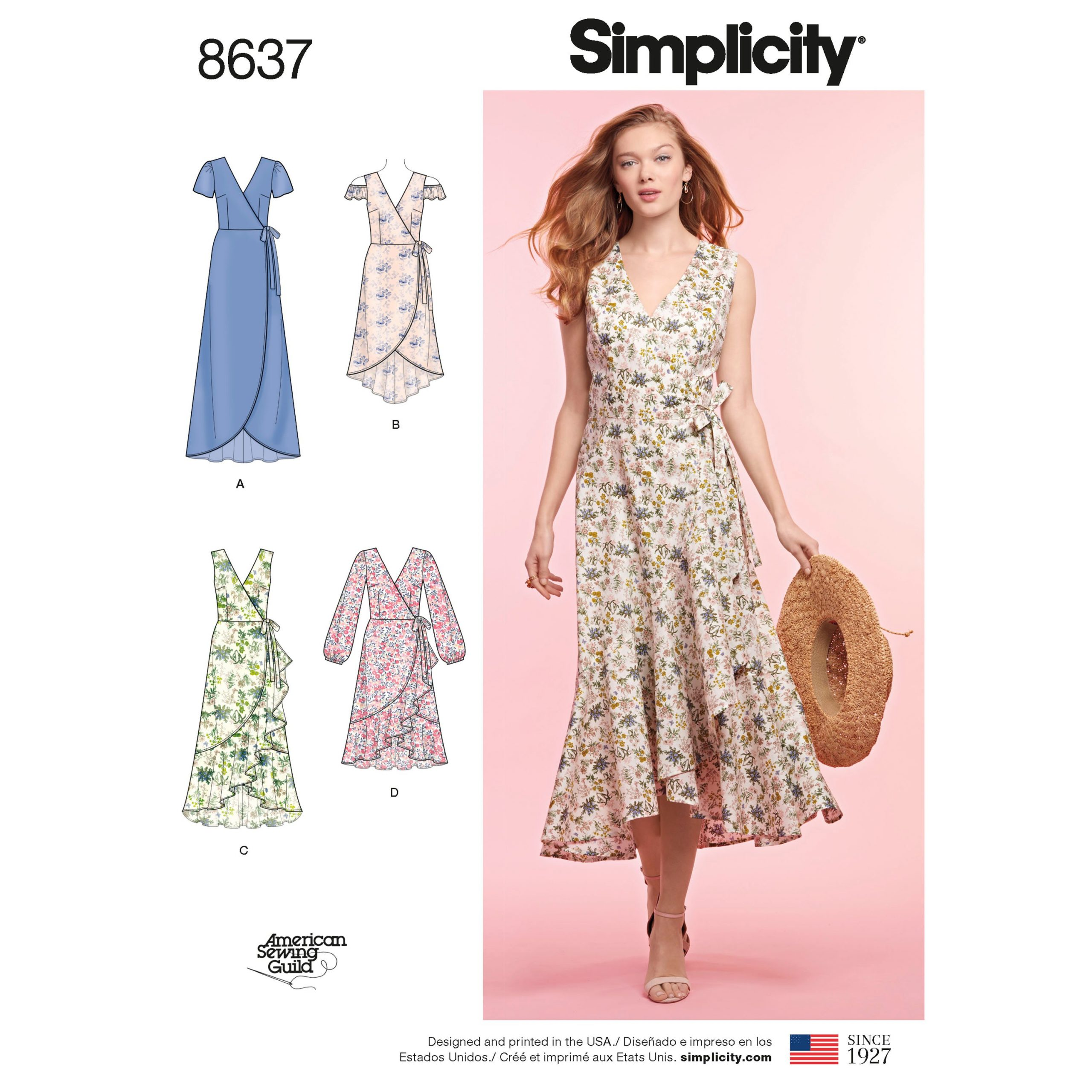 Simplicity wrap dress sewing pattern cover.