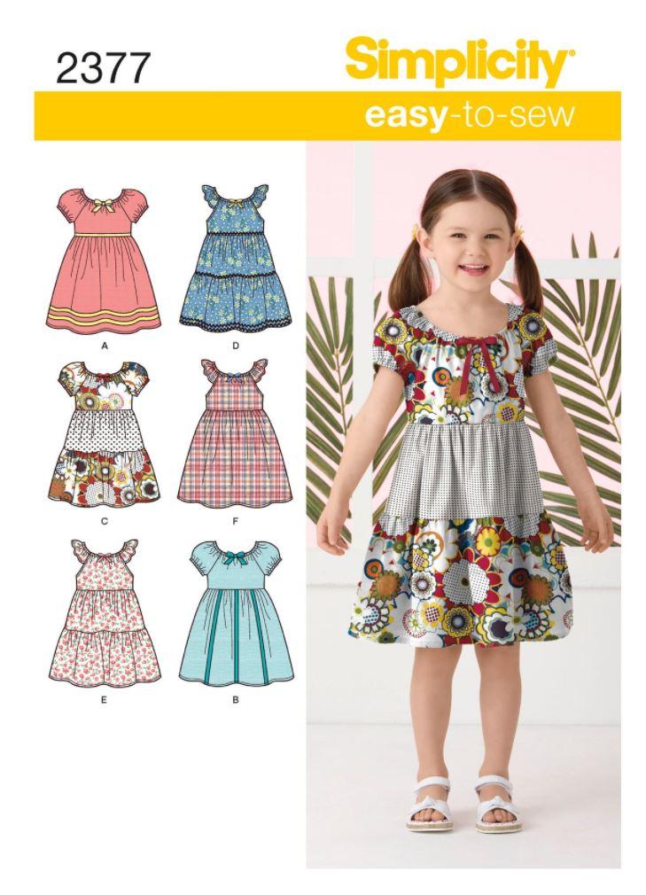 Peasant dress sewing pattern for toddler girls.