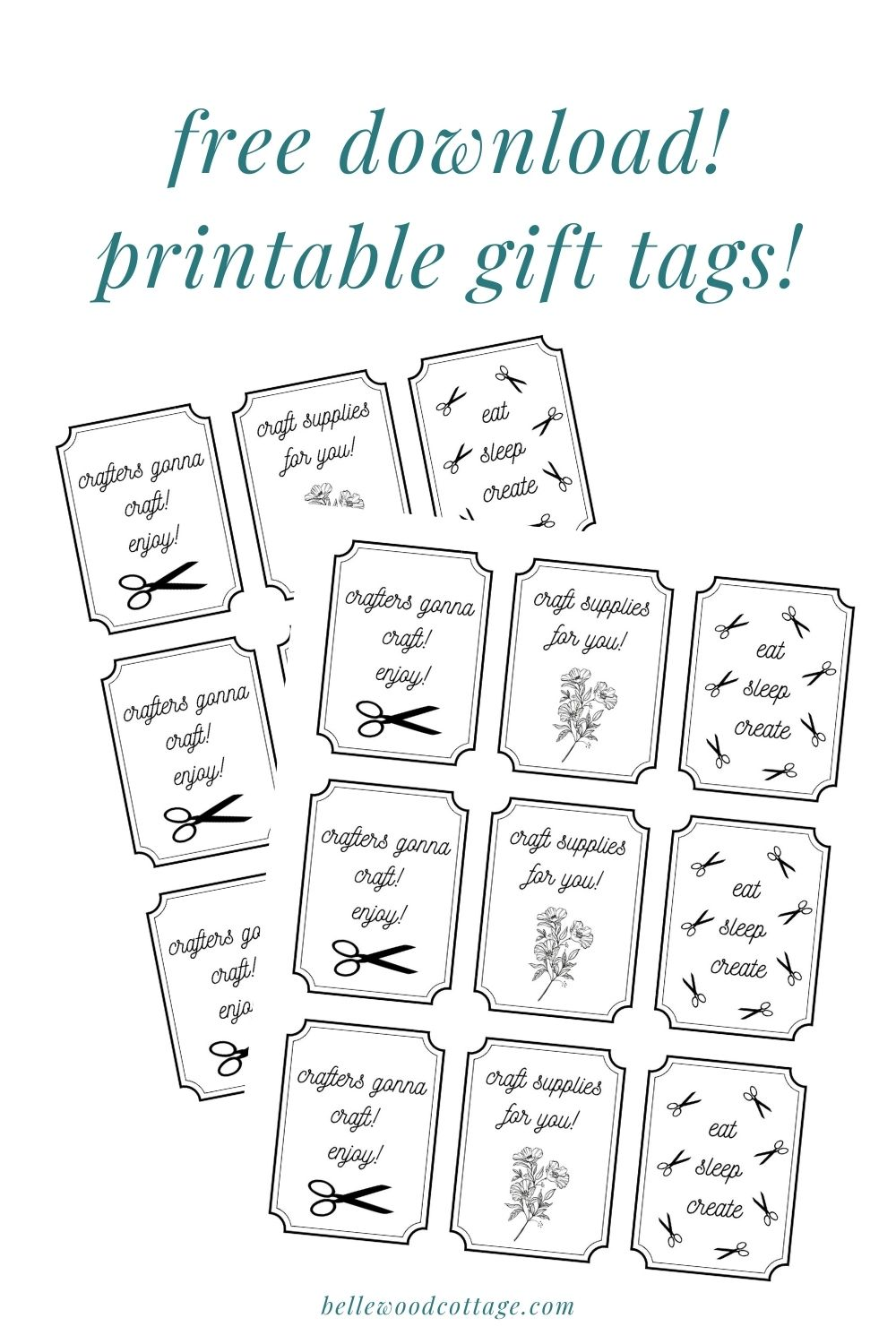 Free printable gift tags for craft supply jars.