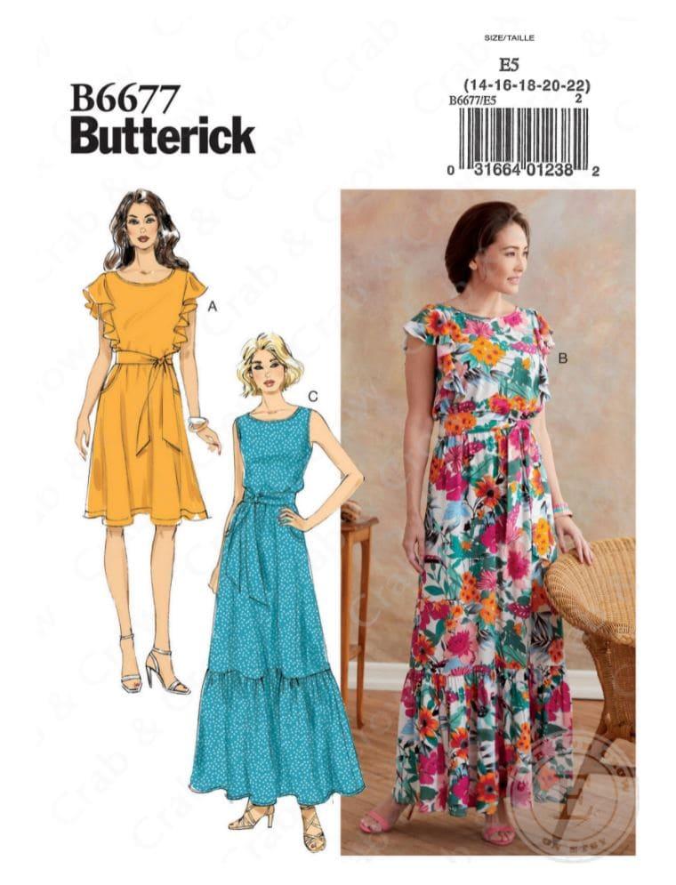 Butterick women's maxi dress sewing pattern envelope cover.