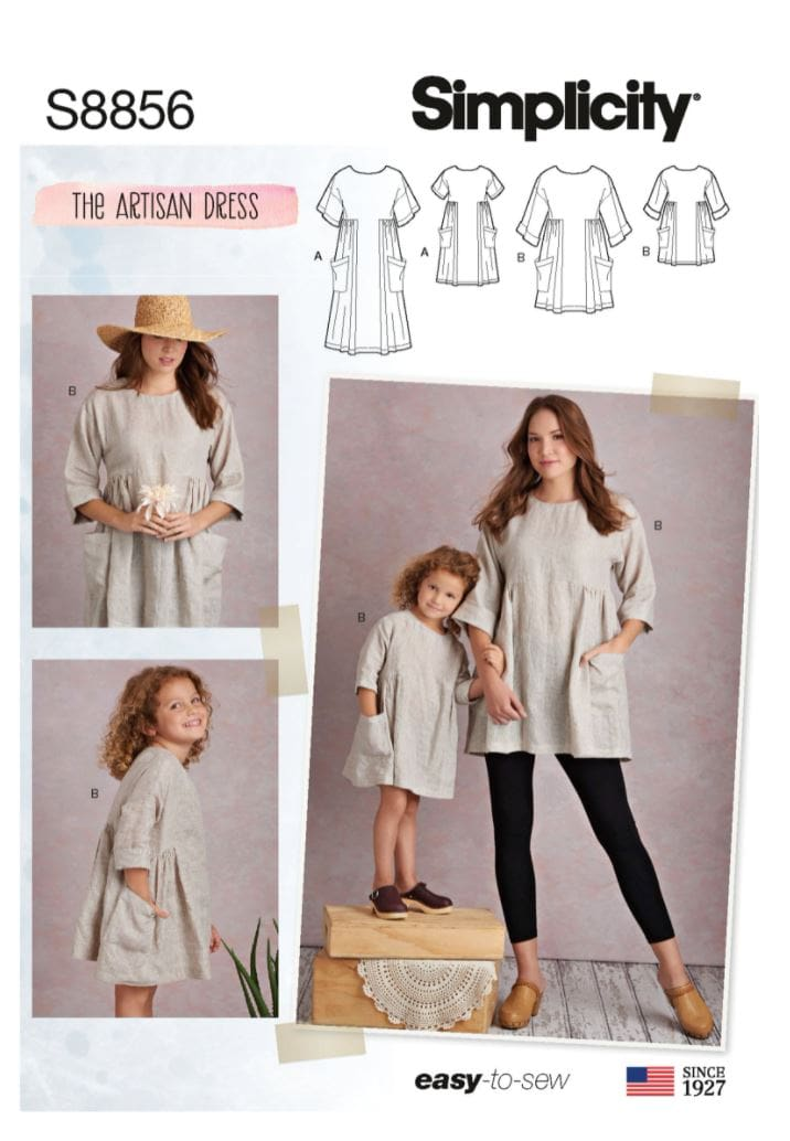 Simplicity easy-to-sew mommy & me tunic and dress sewing pattern.