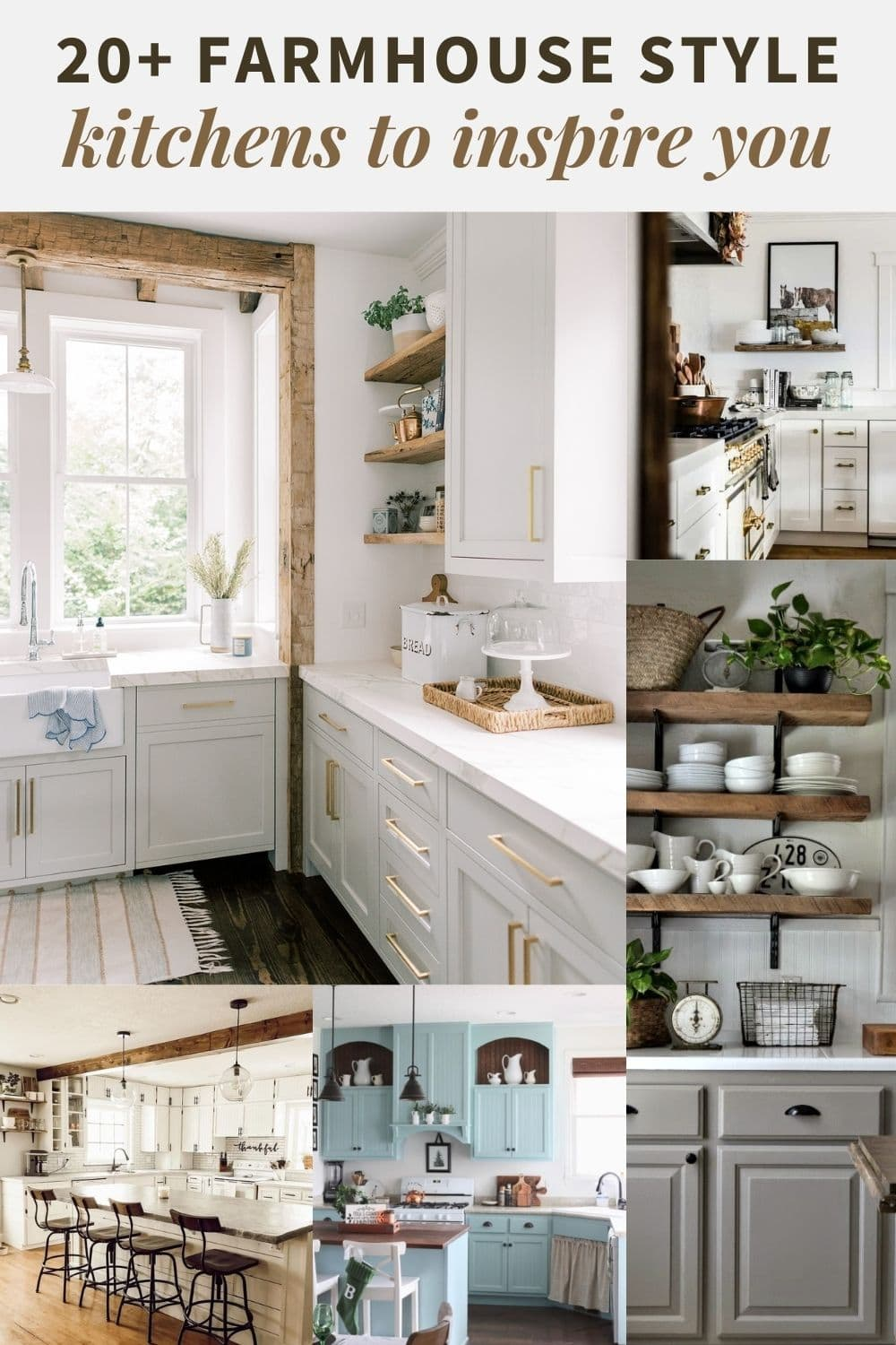 A collage of farmhouse style kitchens.