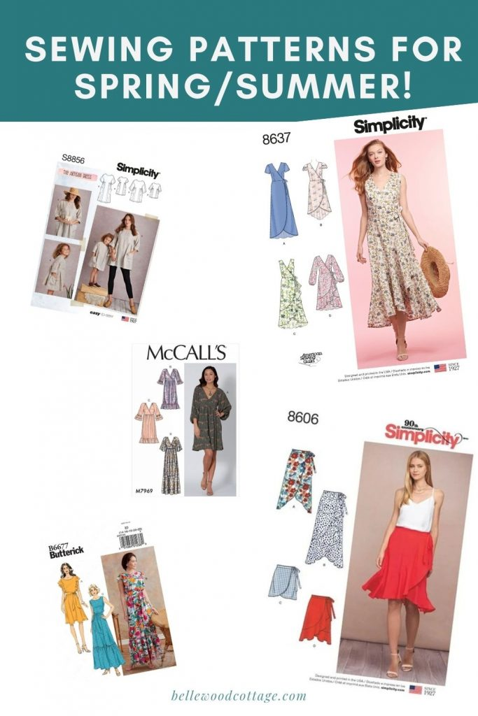 A collage of sewing pattern envelopes for women's dresses and skirts.