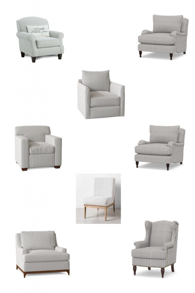 A collage of ticking stripe chairs.