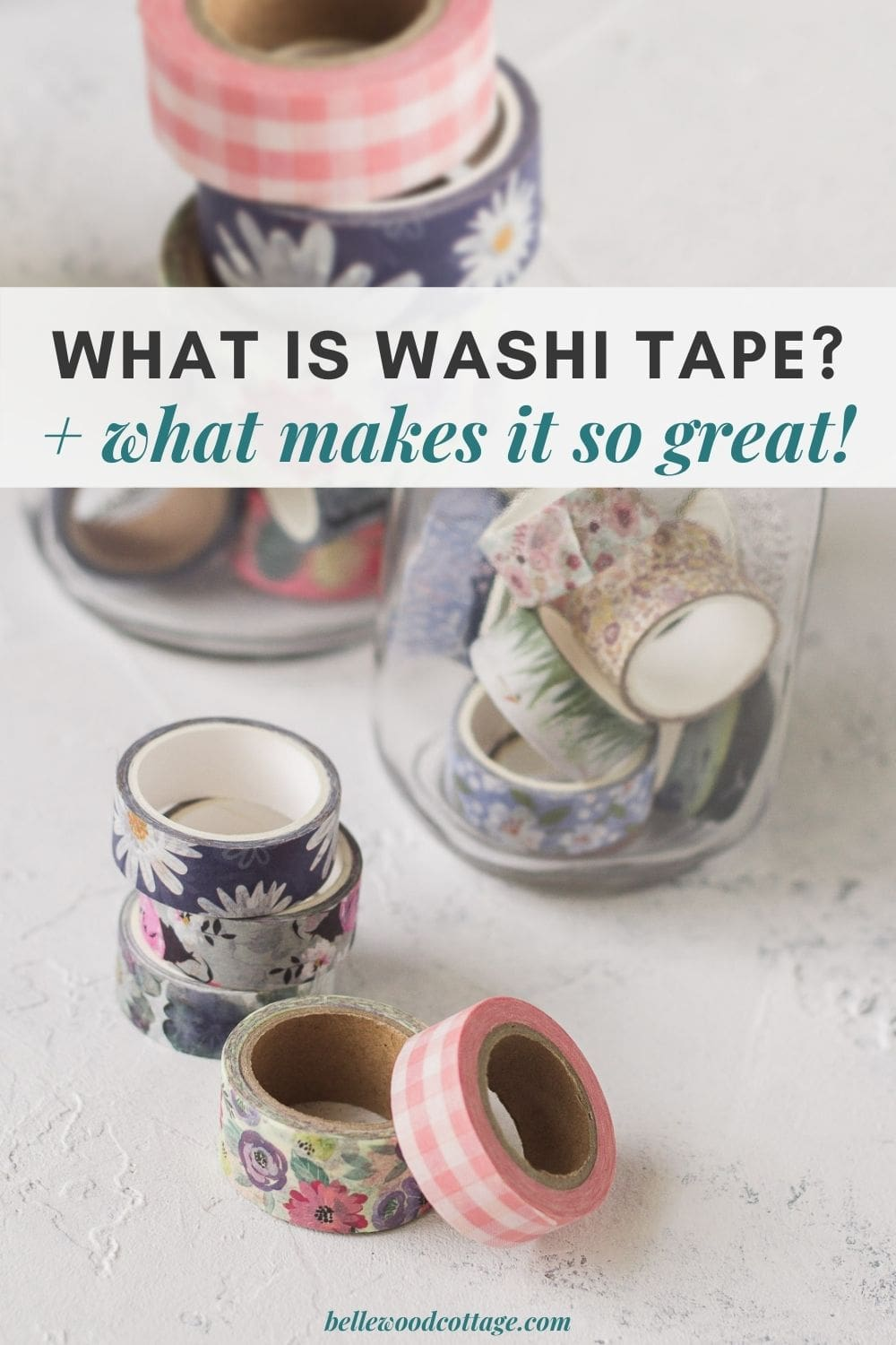Spools of floral washi tape on a textured surface.