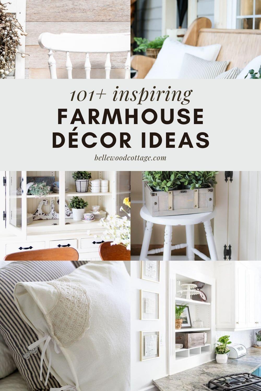 A collage of various farmhouse décor ideas and interiors.
