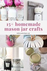A collage of mason jar craft projects.