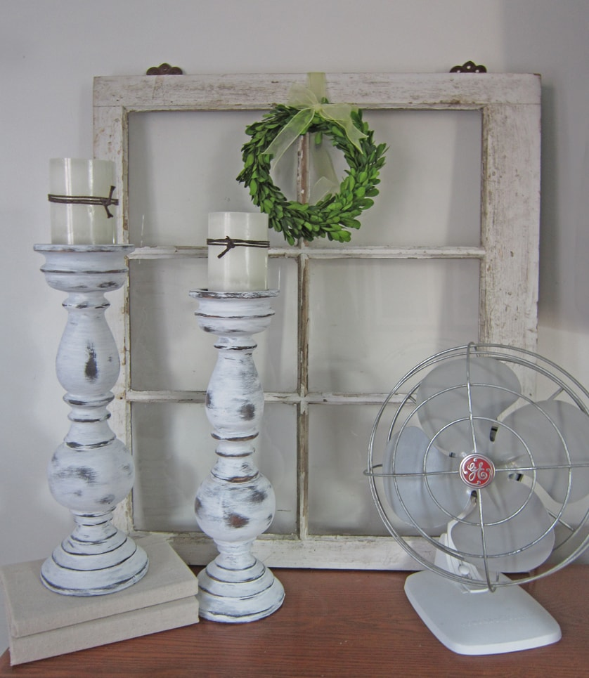 Candlesticks painted with Annie Sloan chalk paint.
