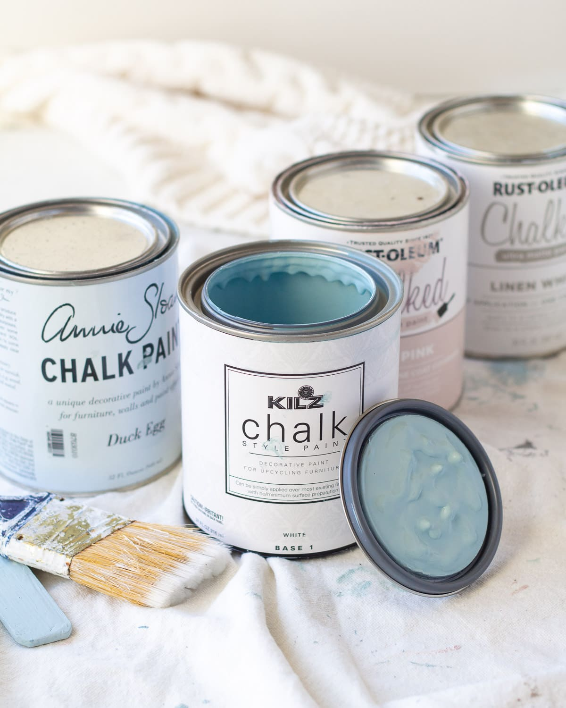 An open can of blue KILZ chalk style paint.