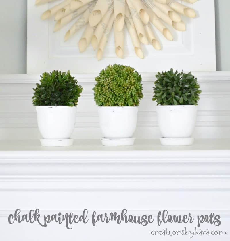 Three white flower pots with greenery inside.
