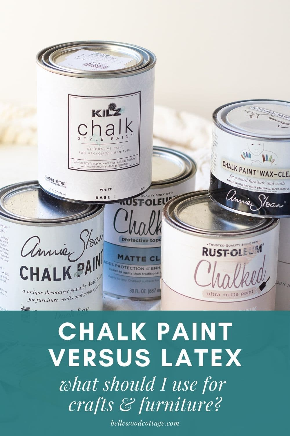 Stacked cans of Chalk Paint and chalk style paint..