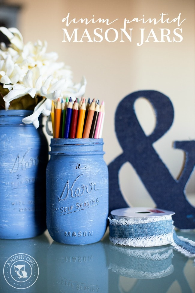 Denim Painted Mason Jars with pencils and florals inside.