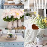 A collage of various farmhouse décor ideas and DIY projects.