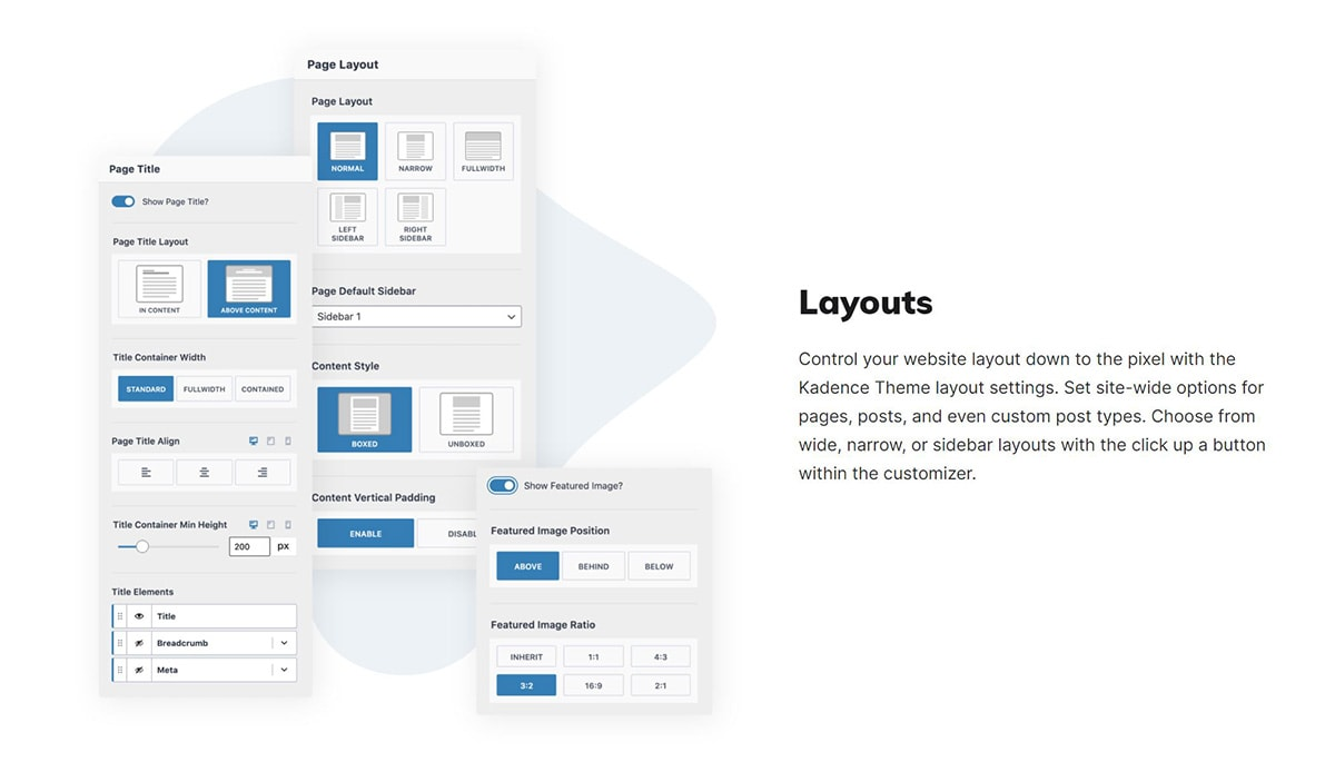 A screenshot of different layouts with a free WordPress theme.