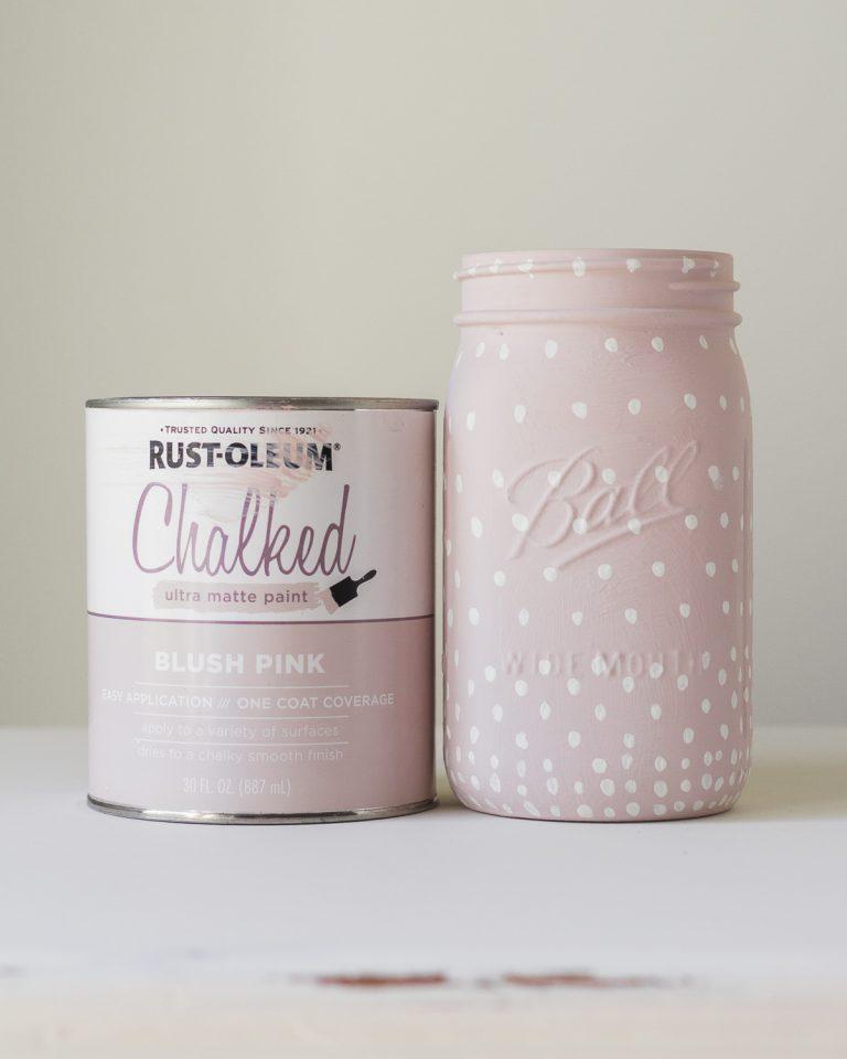 Pink Dotted Mason Jar Vase
