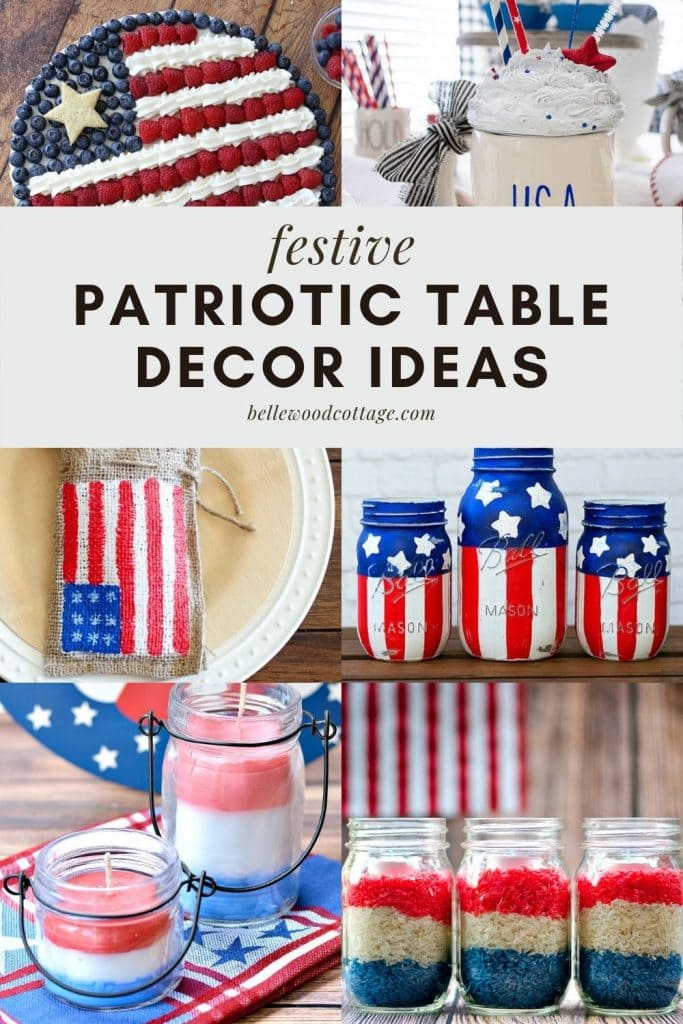 A collage of red, white, and blue holiday table décor ideas.