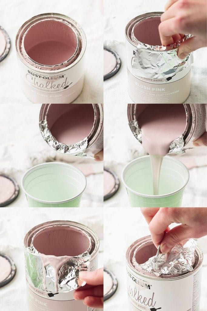 A step by step collage of pouring chalk paint out of a can