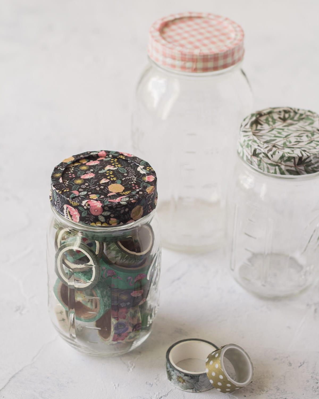 Mason Jars with washi tape covered lids.