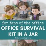 """A mason jar office supplies kit featuring Fisher Price Little People (Jim, Dwight, Michael) with the words, """"For fans of the office - Office Survival Kit in a Jar""""."""